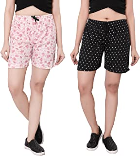 Bfly Women's Printed Cotton Hosiery Shorts-Pack of 2 (WSHORTSCOMBO-1-6)