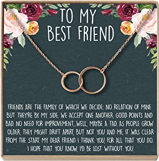 Necklace: BFF, Long Distance, Friends Forever, 2 Asymmetrical Circles