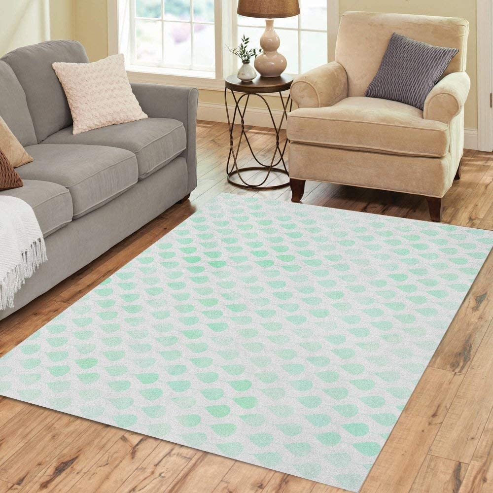 gift Pinbeam Area Rug Mint Green Abstract Watercolor Drop Pattern Max 80% OFF on