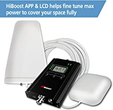 Cell Booster, HiBoost APP Helps Fine Tune Max Power for Best Coverage, HiBoost Signal Booster Improve Phone Signal for Home and Office up to 1,000 - 4,000 Sq.Ft, Cell Phone Booster for all Carriers