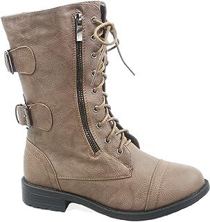 4e920a6e8bf38 Top Moda Pack-72 Women's Fashion Mid Calf Low Heel Combat Military Zipper  Lace Up