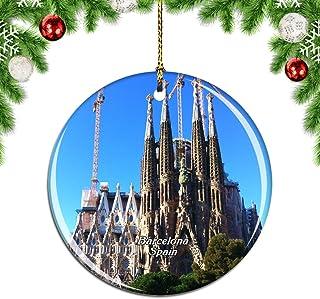 Weekino España Basílica de la Sagrada Familia Barcelona Decoración de Navidad Árbol de Navidad Adorno Colgante Ciudad Viaje Colección de Recuerdos Porcelana 2.85 Pulgadas
