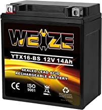 Weize YTX16-BS High Performance - Maintenance Free - Sealed AGM Motorcycle Battery EXT16 BS For Honda TRX 500 420 450 350 Rubicon Foreman Rancher