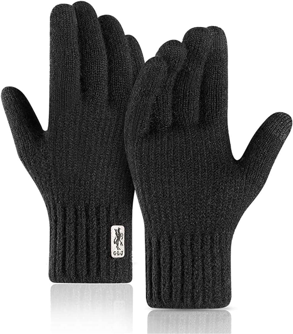 RSQJ Knitted Touch Screen Gloves for Men and Women Outdoor Gloves for Autumn and Winter Riding Plus Velvet Thick Windproof and Warm Alpaca Gloves (Color : Black, Size : X-Large)