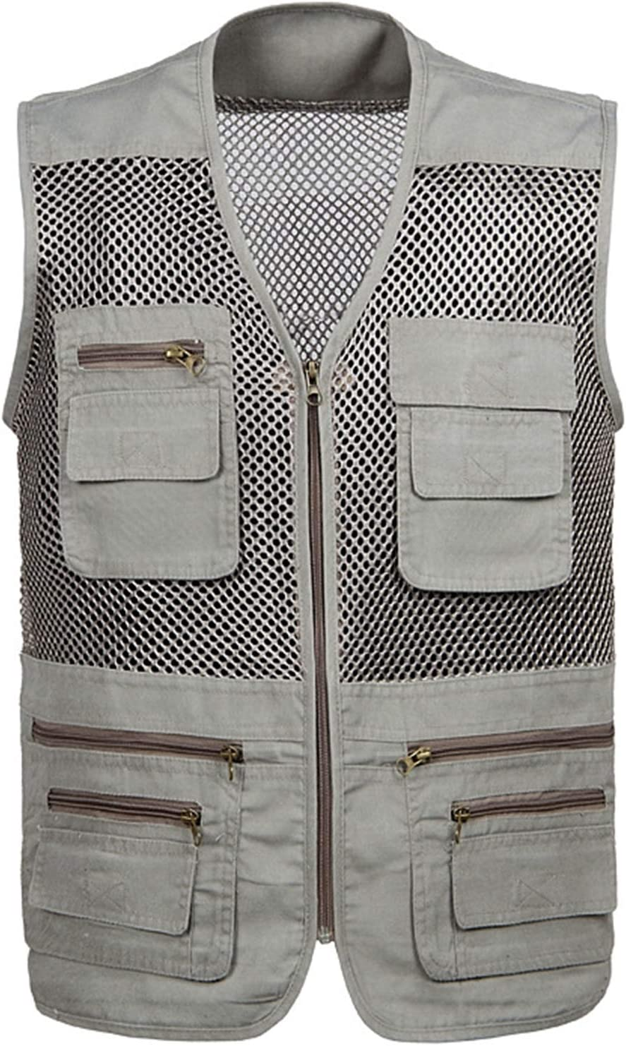CNBPLS Large Size Mesh Quick-Drying Vests,Male with Multi-Pocket Waistcoat,Mens Breathable Fishing Vest Work Sleeveless Jacket,Beige,3XL