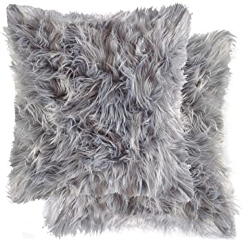 Luxe, Set of 2, Lush Thick Soft Pile Double Sided Faux Fur Pillows with Polyfil Insert, Grey, 18 in x 18 in