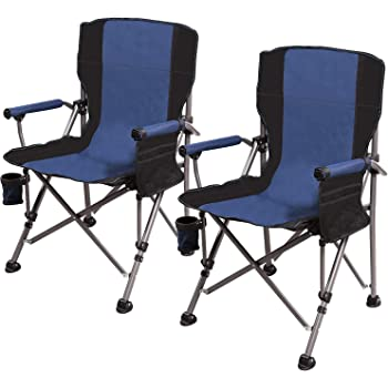 REDCAMP Camping Chairs for Adults Heavy Duty, Sturdy Steel Folding Lawn Chair with Padded Hard Arms and Cup Holder, Comfortable Portable for Outdoor Travel Hunting Fishing Sports, Blue and Comouflage