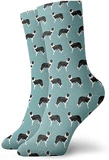 Einst, Border Collie - Calcetines de vestir estampados para hombre, color verde azulado claro