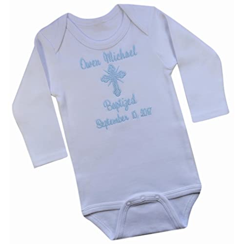 Personalised My Christening Day Boy Name Date Baby Grows Vests Embroidered Gifts
