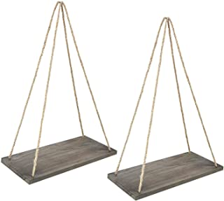 Y&ME Wood Rope Hanging Floating Shelves Set of 2, Rustic Wood Hanging Shelf with 4 Hooks,Wall Hanging Rope Shelves for Living Room, Bedroom, Bathroom and Kitchen 17