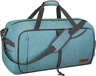 65L Travel Duffel Bag, Foldable Weekender Bag with Shoes Compartment for Men Women..