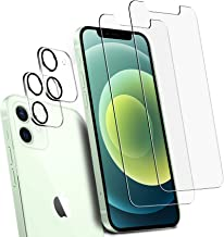 Ferilinso [4 Pack] 2 Pack Screen Protector for iPhone 12 with 2 Pack Camera Lens Screen Protector [Tempered-Glass] [Milita...