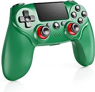 「2021進歩版」PS4 コントローラー ワイヤレス Bluetooth 650mAh ジョイスティック改良 二重振動 FPS改良 ゲームパット搭載 遅延なし 最新バージョン対応 プレステ4 コントローラー(緑 )