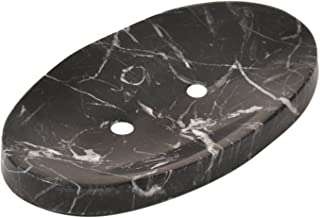 CraftsOfEgypt White Marble Soap Dish - Polished and Shiny Marble Dish Holder   Beautifully Crafted Bathroom Accessory Black