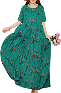 Women Casual Loose Bohemian Short Sleeve Floral Dress...