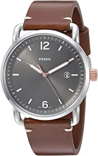 Fossil Mens Analogue Quartz Watch with Leather Strap FS5417 (Silver)