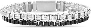 Steve Madden Black Rhodium IP Plated Stainless Steel Double Stranded Square Box Chain Bracelet for Men