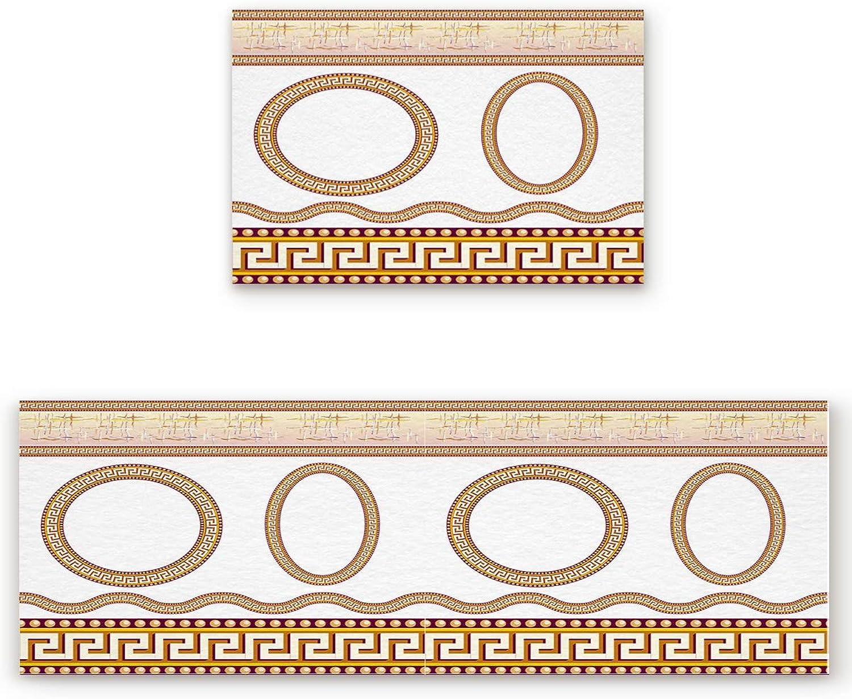 Savannan 2 Piece Non-Slip Kitchen Bathroom Entrance Mat Absorbent Durable Floor Doormat Runner Rug Set - Greek Simple Circle Patterm