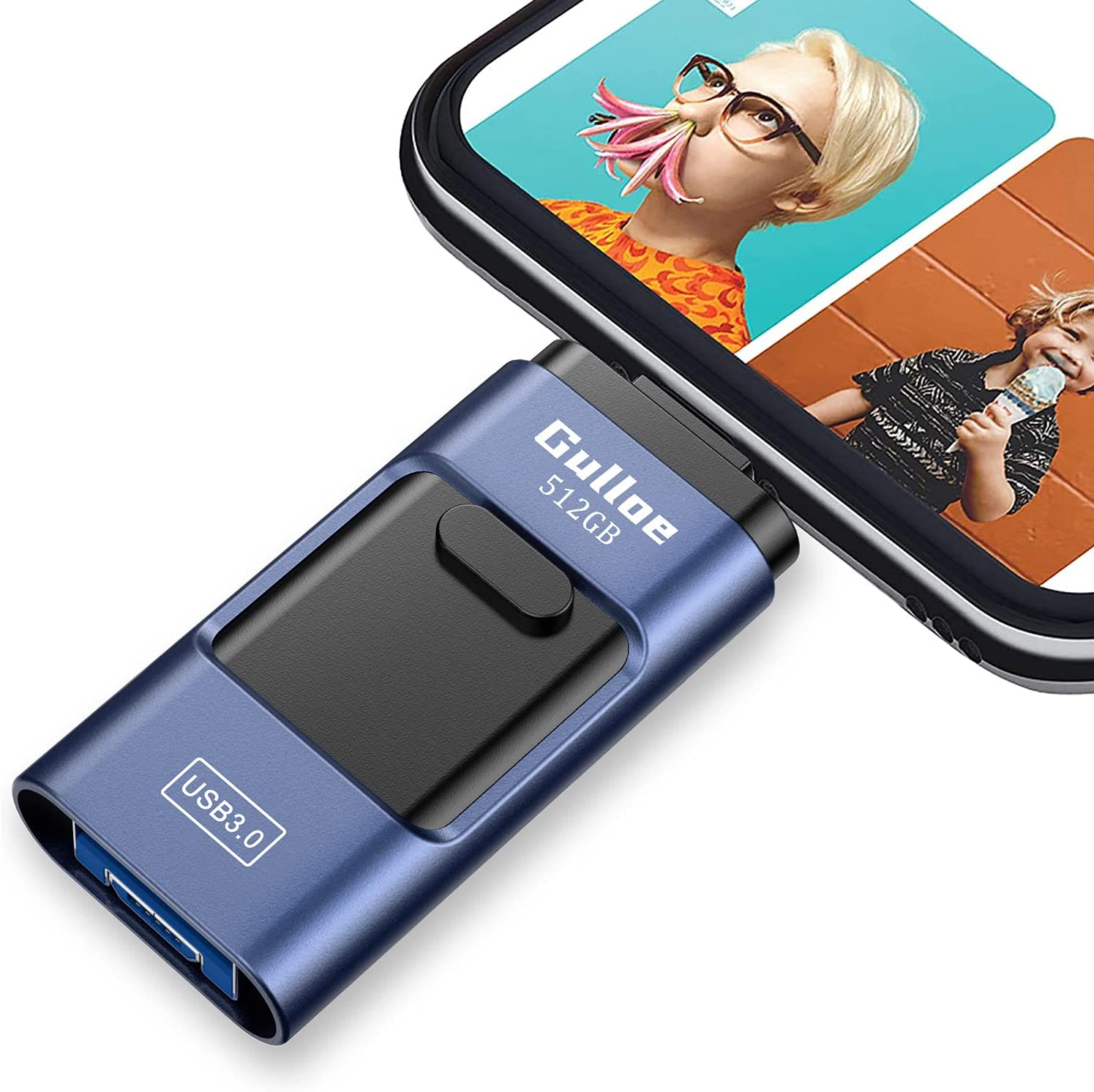 Gulloe USB3.0 Flash Drive 512GB, USB Memory Stick External Storage Thumb Drive Photo Stick Compatible with iPhone, Android, Computer and More Devices (Dark Blue)