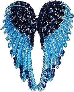EVER FAITH Women's Austrian Crystal Enamel Angel Wings Brooch Pin
