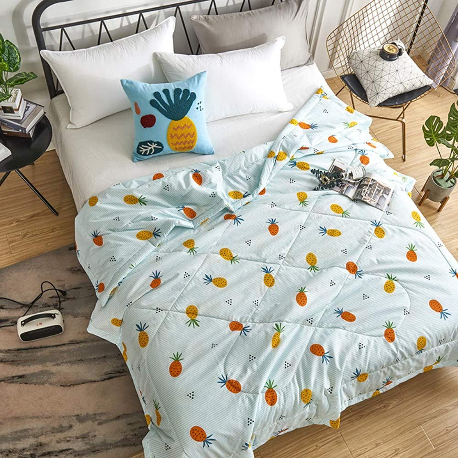 Double Quilt Cotton Print Spring and Autumn by air Conditioning by Two Summer Cool Quilt Breathable, Fruit colorful - Green, 180  200cm