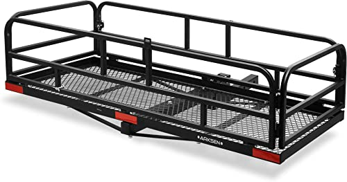 """wholesale ARKSEN 60""""x 24""""x 14"""" Foldable Car Rear High outlet sale Cargo Rack Carrier Trailer lowest Hitch-Mounted Luggage Basket Fit 2"""" Receiver (500 lbs Capacity) outlet online sale"""