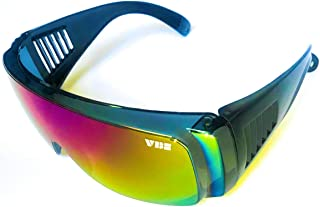 Retro Viper Mirrored Rainbow Multi-Color Lens Riff Raff Pit Sunglasses 80's Party Style Performance Sport Vintage California Cobra Fit Over Wrap Around with Included Micro Fiber Pouch by VBE