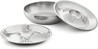 Artisan 3-Piece Stainless Steel Serving Bowl with 2-Section and 5-Section Top Trays and Insulated Lower Bowl