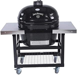 Primo Oval XL 400 Ceramic Smoker Grill Jack Daniel's Edition On Cart with 2-Piece SS Side Tables
