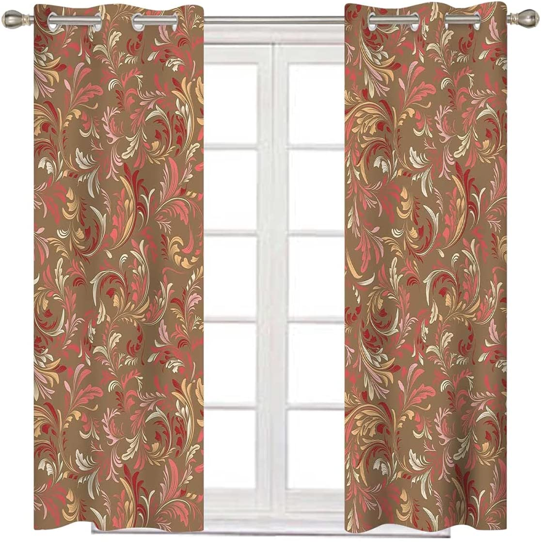 Red and Brown famous Noise Cancelling Long 63 online shop Inches Multicol Curtains