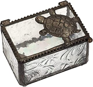 Sea Turtle Gifts Jewelry Box Clear Glass Keepsake Display Decorative Boxes Beach Home Décor Knick Knacks Trinket Dish Ring Holder Box 331