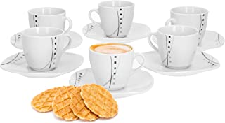 Piatto da Dessert Decorazione Natalizia Tazza da caff/è e piattino in Set Servizio da caff/è Hirsch Bordeaux Elegante Porcellana di Marca VAN WELL 18 Pezzi per 6 Persone