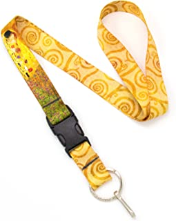Buttonsmith Klimt Kiss Premium Lanyard - with Buckle and Flat Ring - Made in The USA