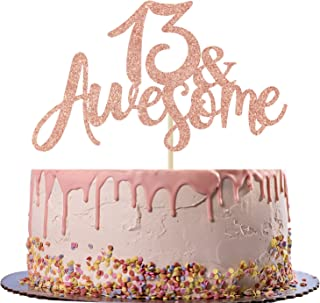 Rose Gold Glitter 13 Awsome Cake Topper - Official 13 Teenager -13 & Fabulous - Boy/Girl 13 Years Old - Happy 13th Birthda...
