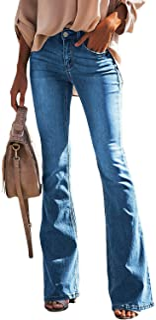 luvamia Women's Ripped Flare Bell Bottom Jeans Pants Retro Wide Leg Denim Pants
