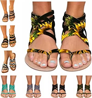 xfyx Sandals for Women, Women's Flat Summer Sandals Boho Zipper Beach Open Toe Flip Flops Breathable Roman Shoes Casual Su...