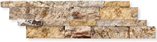 Valencia Travertine 6 X 20 Stacked Ledger Wall Panel Tile, Split-faced (SMALL SAMPLE PIECE)