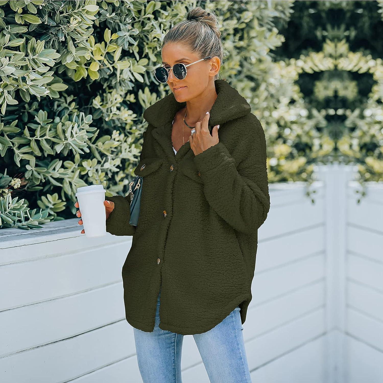 Women's Casual Fashion Button Closure Faux Shearling Shaggy Coat Long Sleeve Loose Furry Jacket