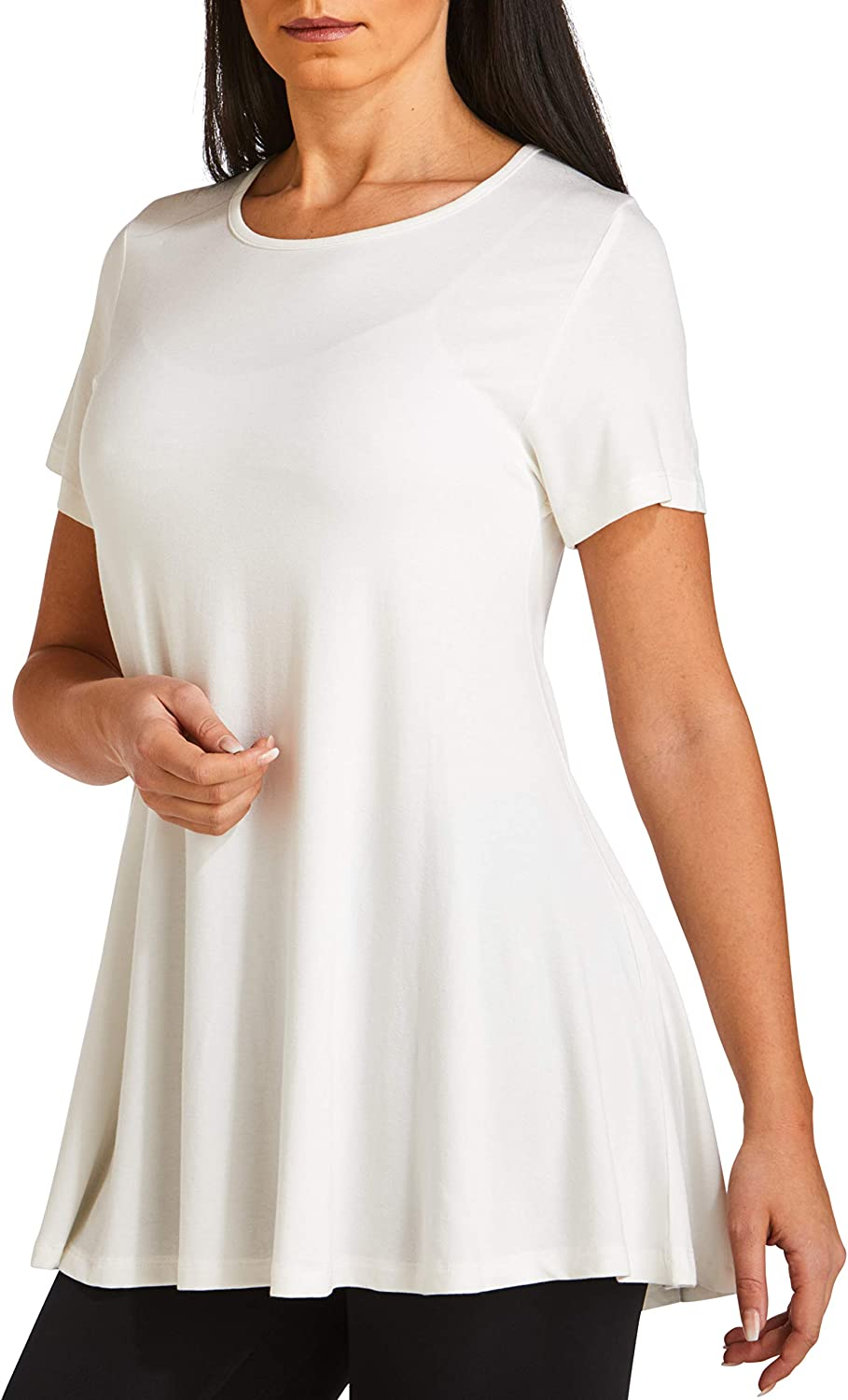 WEST ZERO TWO Women`s Tunic Tops Short Sleeve Loose Fit Flared