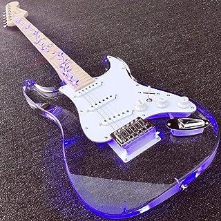 YUEQI Guitarra eléctrica de acrílico, diapasón de Arce con Lift Tree, diapasón y Cuerpo