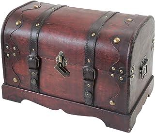 HMF–6403–140Cofre del Tesoro con candado, Cofre del Tesoro, piratas Caja de madera Camboya, 40x 23x 27cm