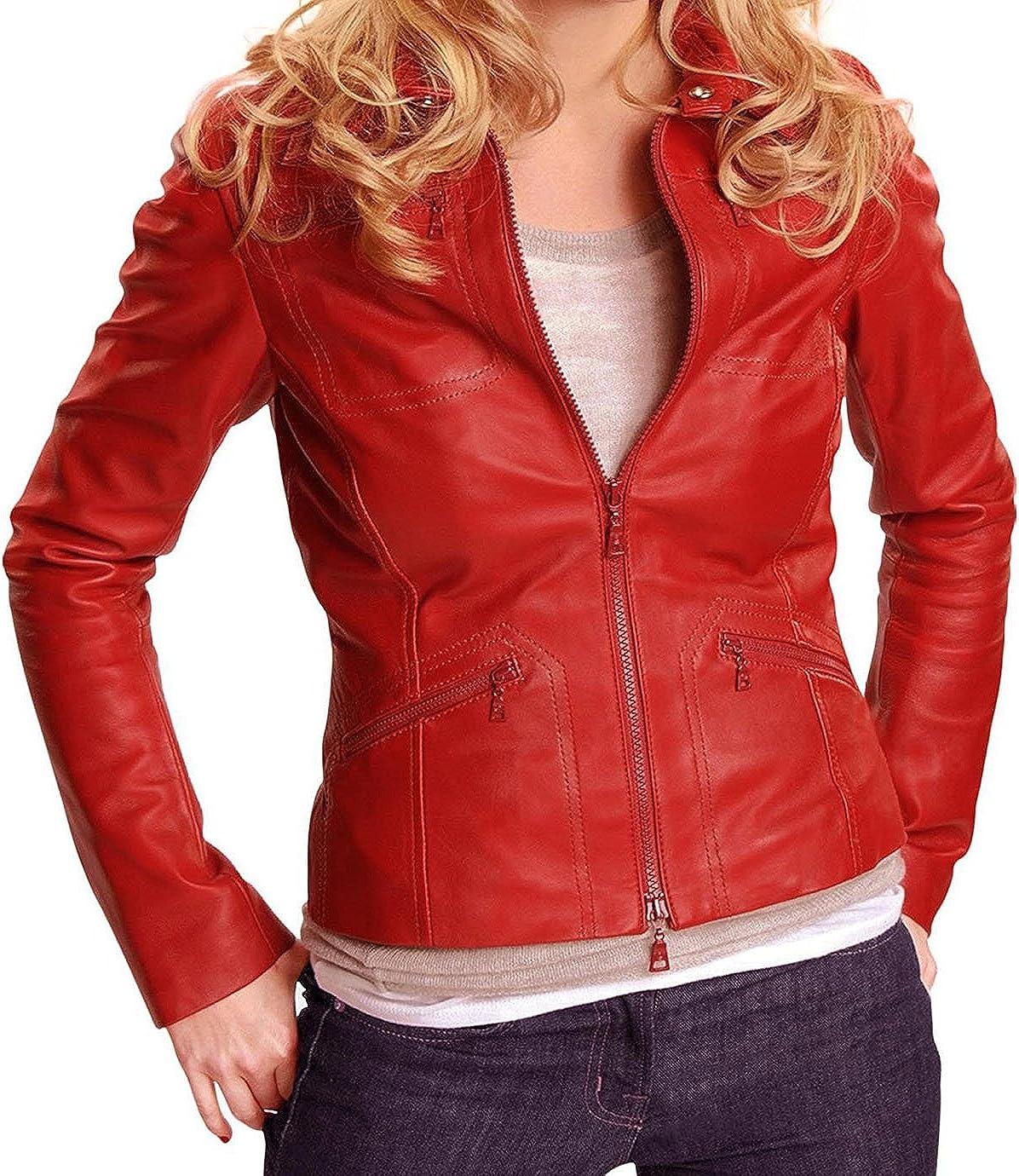 UGFashions Jennifer Morrison Once Emma Swan Red Faux Biker Slim Fit Leather Jacket