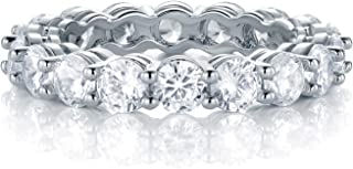 18K White Gold Filled Cubic Zirconia Eternity Band Ring for Women