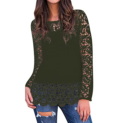 d999fae99f176 StyleDome Women s Tops Blouse T Shirt Crochet Floral Long Sleeve Round Neck  Loose Tee