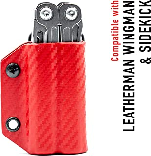 Clip & Carry Kydex Multitool Sheath for Leatherman WINGMAN/SIDEKICK - Made in USA (Multi-tool not included) EDC Multi Tool Sheath Holder Holster Cover (Carbon Fiber Red)