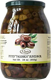 Taggiasca Italian Pitted Olives in Extra Virgin Olive Oil 34 Ounce