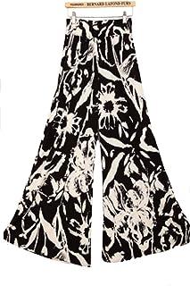 EHAME ワイドパンツ レディース ボトムス 春夏 黒大きいサイズ 花柄 プリーツ カジュアル ハイウエスト おしゃれ ゆったり 薄手 ロング