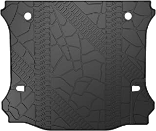 oEdRo Cargo Liner Compatible for 2011-2018 Jeep Wrangler Unlimited Without Subwoofer, 4 Door Only, All Weather Black Cargo Tray