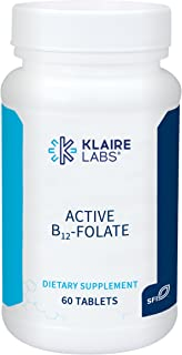 Klaire Labs Active B12-Folate Lozenges - High Potency Methylcobalamin and Metafolin, 60 Dissolvable Tablets