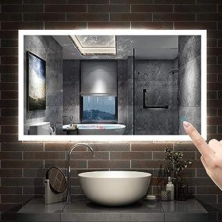 AICA sanitaire Miroir de Salle de Bain 120x70cm réversible Anti-buée Miroir Mural avec éclairage LED modèle Carré